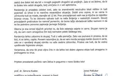 Pismo ministrice prof. dr. Kustec in ministra Poklukarja